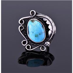 Large Sterling And Turquoise Ring