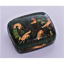 Kashmir Lacquer Box Of Animals Playing
