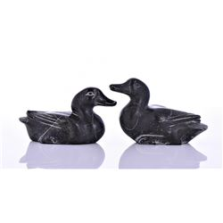 Two Inuit Soapstone Duck Sculptures