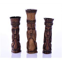 Bone Carved Figures Depicting See No Evil