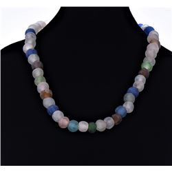 African Multi Color Glass Bead Necklace