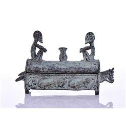 African Benin Style Bronze Container