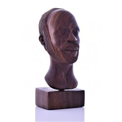 L. Bryan, Hard Wood Carved Bust Of A Man