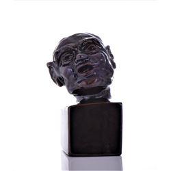 1987 J. Korocy Glazed Brown Ceramic Bald