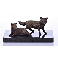 Antique Bronze Fox Sculpture