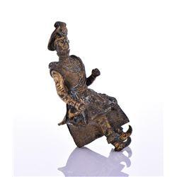 Antique Solid Bronze Horseback Rider