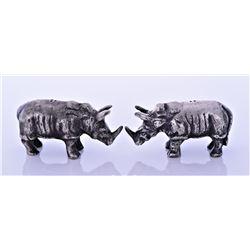 Two Metal Rhino Salt And Pepper Shakers