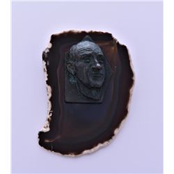Bronze Bust Of A Man Mounted On A Slice