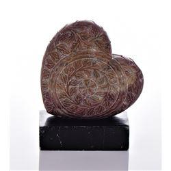 Vintage Intricately Carved Soapstone Heart