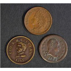 3 CIVIL WAR TOKENS; 1863 FREDERICK