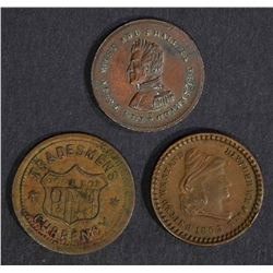 3 CIVIL WAR TOKENS; 1863 BEWARE,