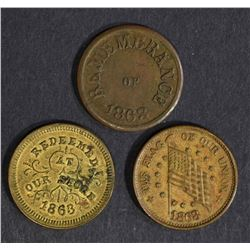 3 CIVIL WAR TOKENS; 1863 TROY, N.Y.,