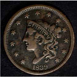 1839 LARGE CENT, VF
