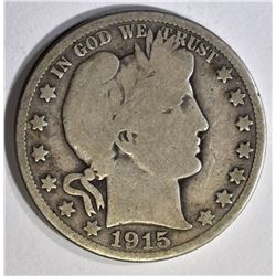 1915 BARBER HALF DOLLAR, VG KEY