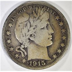 1915-S BARBER HALF DOLLAR, VF