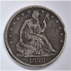 1858-O SEATED HALF DOLLAR, FINE