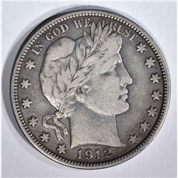 1912 BARBER HALF DOLLAR, XF