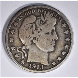 1913 BARBER HALF DOLLAR, FINE KEY DATE!
