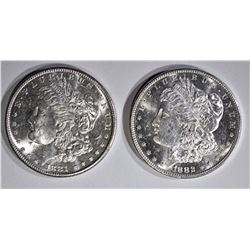 1881-S & 82-S CH BU MORGAN DOLLARS