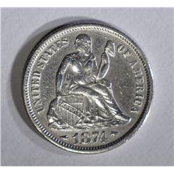 1874 ARROWS SEATED LIBERTY DIME XF/AU