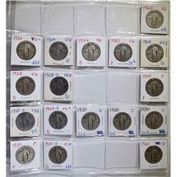 17-DIFFERENT STANGING LIBERTY QUARTERS FULL DATES