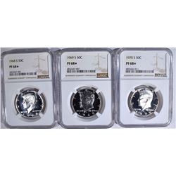 1968-S, 69-S, 70-S KENNEDY HALVES NGC PF-68 STAR