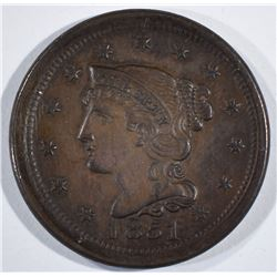 1851 LARGE CENT  GEM BROWN UNC