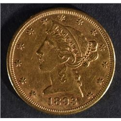 1893-CC $5 GOLD LIBERTY  AU