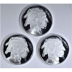 3-INDIAN/BUFFALO ONE oz .999 SILVER ROUNDS