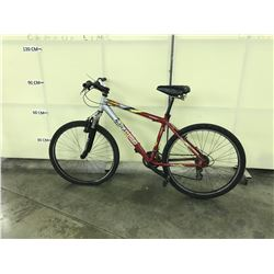 RED AND SILVER NAKAMURA 21 SPEED FULL SUSPENSION MOUNTAIN BIKE