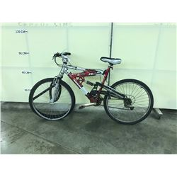 RED AND SILVER NAKAMURA FS9000 FULL SUSPENSION 21 SPEED MOUNTAIN BIKE