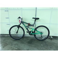 GREEN AND GREY HUFFY ROCKCREEK FULL SUSPENSION 21 SPEED MOUNTAIN BIKE