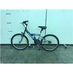 BLUE AND SILVER DUNLOP 24 SPEED FRONT SUSPENSION MOUNTAIN BIKE