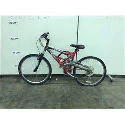 RED AND SILVER INFINITY QUANTUM 21 SPEED FULL SUSPENSION MOUNTAIN BIKE