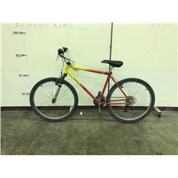 RED AND YELLOW GARY FISHER 21 SPEED FRONT SUSPENSION MOUNTAIN BIKE