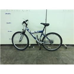 BLUE AND SILVER DUNLOP 21 SPEED FRONT SUSPENSION MOUNTAIN BIKE