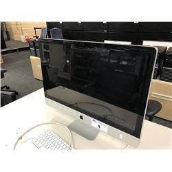 APPLE IMAC 27'' COMPUTER, WITH APPLE KEYBOARD, MODEL A1312, S/N W80054EJ5RU, NO HARD DRIVE