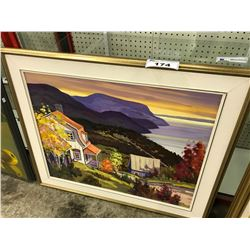 "FRAMED OIL ON CANVAS PAINTING BY CLAUDE LANGEVIN, ""PORT AUX PERSILS"", SIGNED BY ARTIST ON BACK"