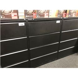BLACK METAL 4 DRAWER LATERAL FILE CABINET