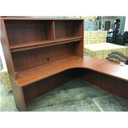 CHERRY 6X6' CORNER WORKSTATION COMES WITH HUTCH