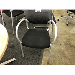 BLACK AND GREY FRAMED CONTOUR CLIENT CHAIR