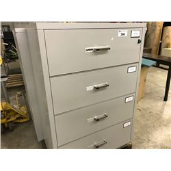 GREY GARDEX 4 DOOR FIRE PROOF LATERAL FILE CABINET