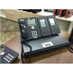 LOT OF APPROX 12 AVAYA DISPLAY HANDSETS INCLUDING RECEPTION AND IP OFFICE 500 V2 CONTROL UNIT