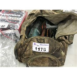 CAMO BAG WITH ASSORTED POWER TOOLS