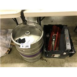 KEG, AND BIN OF ASSORTED TOOLS, BIN NOT INCLUDED