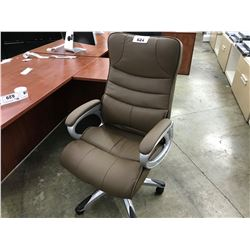 BROWN LEATHER HIGHBACK EXECUTIVE CHAIR