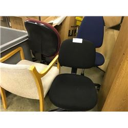 LOT OF APPROX 12 CHAIRS, 1 DESK AND 2 BOOKCASES