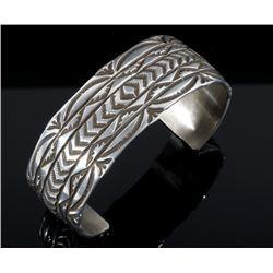 Signed Navajo Sterling Silver Carved Bracelet