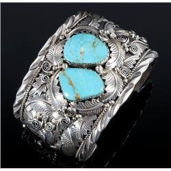 J. Etsitty Sterling Silver & Turquoise Bracelet