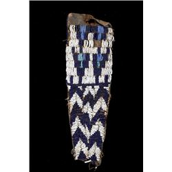 Ute Tail Fully Beaded Pipe Tobacco Bag - 19th C.